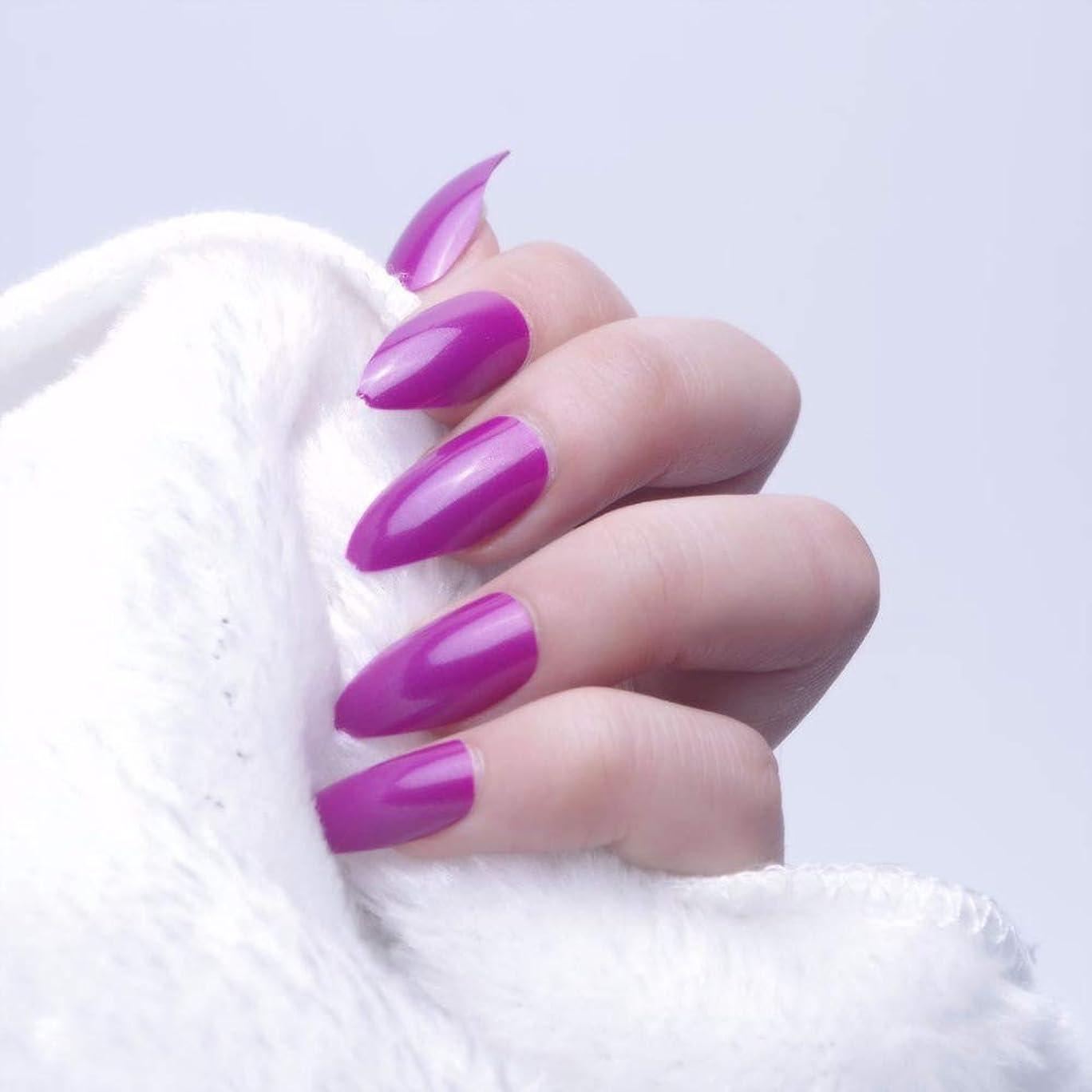 結果毎回奴隷XUTXZKA 24ピースオーバルスティレット偽の爪のヒントフルカバー偽爪ステッカープレスネイル