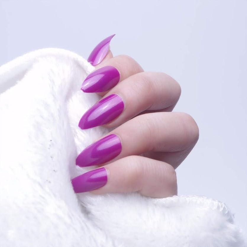落胆したソース合理化XUTXZKA 24ピースオーバルスティレット偽の爪のヒントフルカバー偽爪ステッカープレスネイル