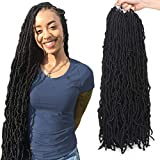 ZRQ 24 Inch Nu Faux Locs Crochet Hair Long 6 Packs Pre-looped Goddess Locs Crochet Dreadlock Hair Curly Soft Locs Braiding Hair For Black Women Synthetic Hair Extened African Roots 21Strands/Pack 1B#
