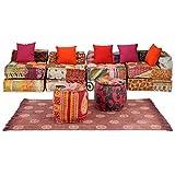 FAMIROSA Conjunto de sofá Modular 16 Piezas de Tela Patchwork