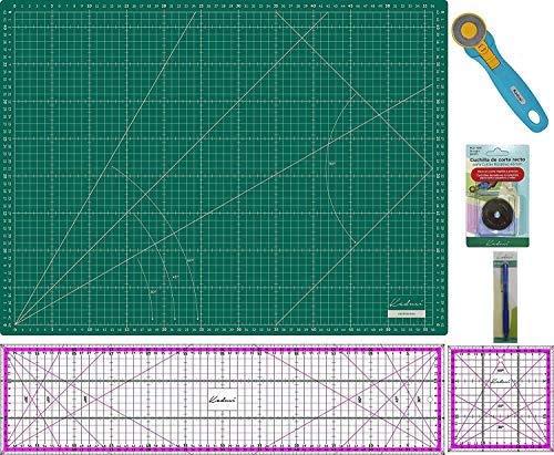 Kit Splash Kadusi Patchwork con base de corte verde, regla 15x60 y 15x15 (ROSA), cutter, recambio cuchilla y marcador de telas