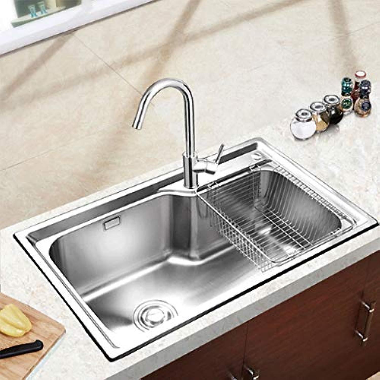 Küche Edelstahl gebürstet Einteiliges Becken Einzelschlitzhahn Eingebettetes Waschbecken Mute Ablaufbecken Küchenspülen