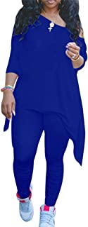 Two Piece Outfits for Women Lounge Sets Long Sleeve Tops with Bodycon Pants Set Sportswear Royal Blue