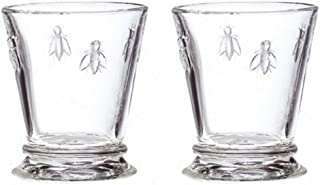 La Rochere 10oz Glass Tumbler Set of 2 – Napoleon Bee clear stemless glass – Ideal for Cocktails, Wine, Irish Coffee, Juice, Appetizers – Ideal Birthday Housewarming gift – Sturdy everyday glassware