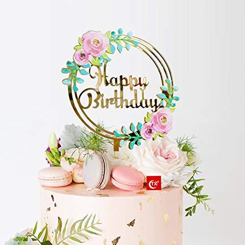 Soode decoraties voor feestjes in kleurrijke stijl met bloemenprint van Happy Birthday spiegel voor taarten van acryl goud taartdecoratie