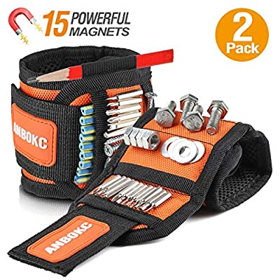 Adjustable Multifunction Magnetic Tool Wristband, Tool Belt, Tool Organizers with 15 Strong Magnets for Holding Screws, Nails, Drill, Bits, Best for Men, Women, DIY Handyman, Carpenters from ANBOKC