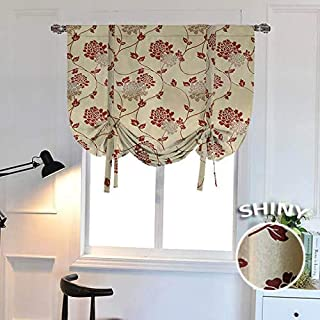 WUBODTI Blackout Floral Embroidery Valance Room Darkening Thermal Insulated Tie Up Shades Embroidered Balloon Window Curtain Panel for Kitchen Bedroom Bathroom Windows,32x55 Inch,Beige,Red