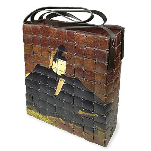 PERLETTI Damen Schultertasche aus Bambus - Etnische Handtasche für Frauen - Handgefertigt - 23x28x8 cm - Reißverschluss (Braun Orientalisches Motiv)