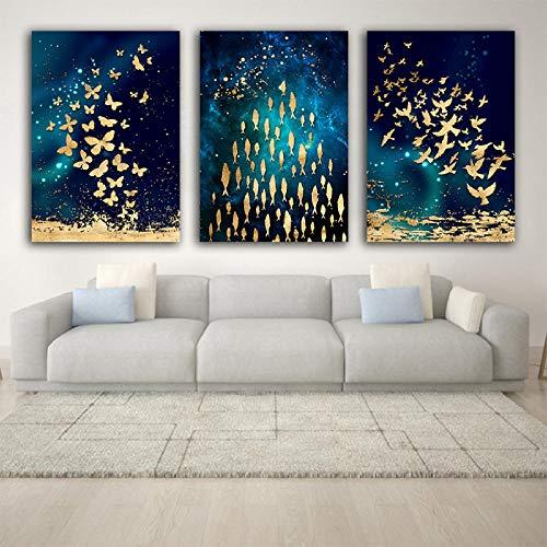 Liangzheng Modern kunstwerk, abstract, goudkleurig, dierenschilderij op canvas, plafondlamp, borden en drukken, grote kunst, voor de woonkamer, 50 x 70 cm x 3 zonder lijst