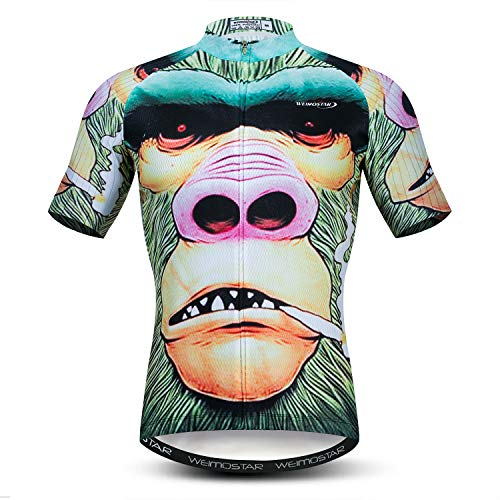 Men's Cycling Jerseys Tops 3D Print Biking Shirts Short Sleeve Full Zipper Bicycle Jacket Pockets Lycra Cuff XL