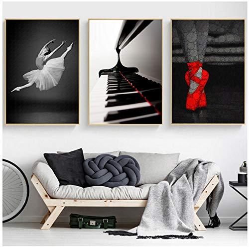 ZYHFBHFBH Schilderij op canvas, moderne ballerina, in wit en zwart, pianoschoen, rode schoenen, posters, printen, wandafbeeldingen, woonkamer, decoratie 30x40cm(11.8