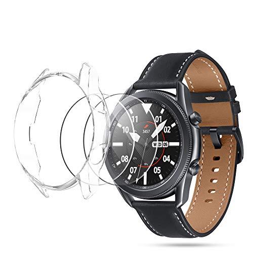 Seltureone (2+1 Stück) Kompatibel für Samsung Galaxy Watch 3 45mm Hülle mit Panzerglas Bildschirmschutz, Weiche TPU Schutzhülle aus Bildschirmschutzfolie für Galaxy Watch3 45mm, Transparent