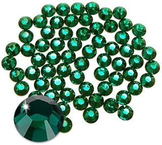 Piedras de estrás con el reverso plano y fijación con calor de Jollin, verde oscuro, ss20
