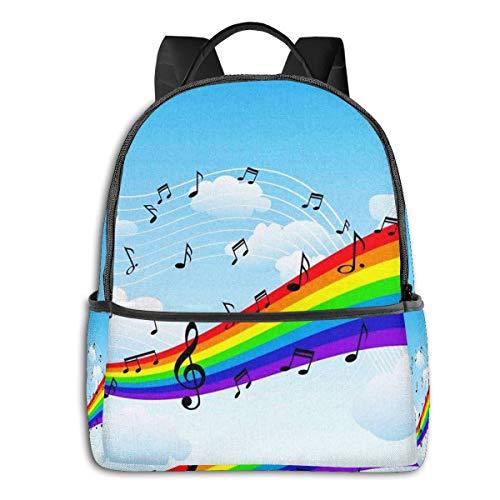 Zaino Scuola Casual, Uomo Donne Rucksack Zaino per Borsa da Viaggio per Scuola Ragazze Ragazzo Zaini Scuola Superiore Elementare Note musicali arcobaleno felice