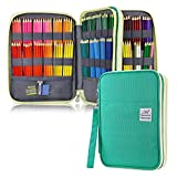YOUSHARES 192 Slots Colored Pencil Case, Large Capacity Pencil Holder Pen Organizer Bag with Zipper for Prismacolor Watercolor Coloring Pencils, Gel Pens & Markers for Student & Artist (Green)