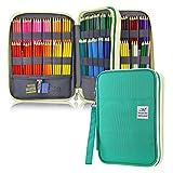 YOUSHARES 192 Slots Colored Pencil Case, 120 Gel Pens Large Capacity Pencil Holder Pen Pt mit Zipper für Prismacolor Watercolor Coloring Pencils & Markers for Student & Artist (Grünt)