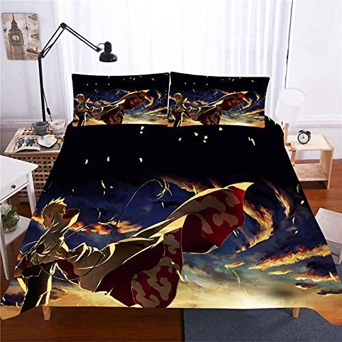 BMKJ Juego de ropa de cama infantil Naruto Anime de microfibra, juego de 3 piezas, impresión digital 3D, ropa de cama para niños, jóvenes, adolescentes (3TLG.200X200+2 * 50X75 cm,B)