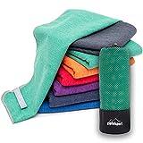 Mikrofaser Handtuch Set 'Brush' - Microfaser Handtücher mit Tasche für Sauna, Fitness, Sport I 1x S(80x40cm) | Grün