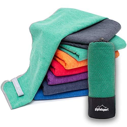 Mikrofaser Handtuch Set 'Brush' - Microfaser Handtücher mit Tasche für Sauna, Fitness, Sport I 1x XXL(200x90cm) | Grün