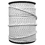 smartect Cable para lámparas de tela en color Blanco - Cable textil trenzado de 3 Metro - 3 hilos (3 x 0,75 mm²) - Cable de luz con revestimiento textil