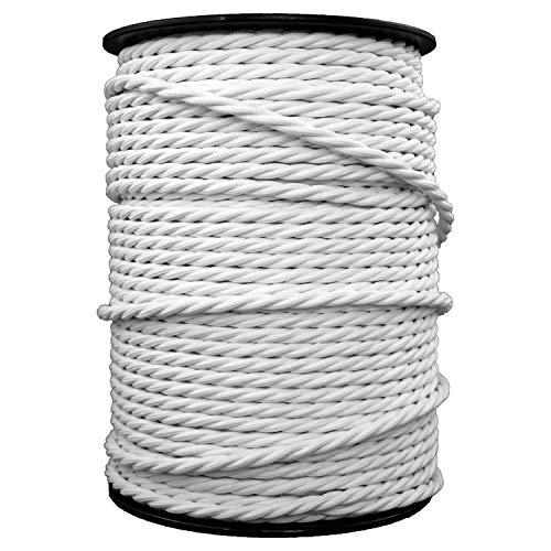 smartect Lampenkabel aus Textil in der Farbe Weiß - 3 Meter Textilkabel - 3-Adrig (3 x 0.75mm²) - Textilummanteltes Stromkabel für DIY Projekt