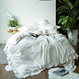 SUSYBAO 3 Pieces Vintage Ruffle Duvet Cover Set 100% Washed Cotton King Size Off White Romantic Princess Bedding Set with Zipper Ties 1 Duvet Cover 2 Pillow Shams Hotel Quality Soft Breathable Durable