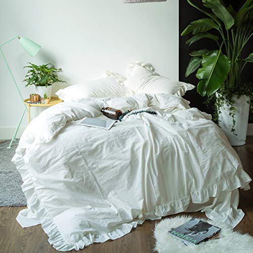 SUSYBAO 3 Pieces Vintage Ruffle Duvet Cover Set 100% Washed Cotton Queen Size Off White Rural Shabby Chic Bedding Set with Zipper Ties 1 Lace Duvet Cover 2 Pillow Shams Luxury Quality Soft Comfortable