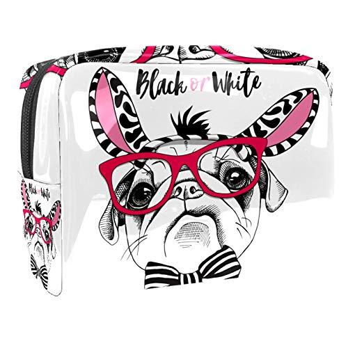Bolsa de maquillaje portátil con cremallera, bolsa de aseo de viaje para mujeres, práctica bolsa de almacenamiento para cosméticos, bonito carlino negro y blanco