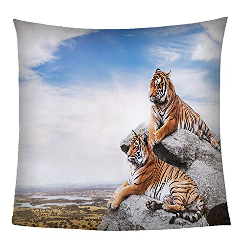 Mantas Colcha Franela Fleece Colcha Animales 3D Dos Tigres Manta De Sherpa Impresión 3D Microfibrade Suave Y Cálida 180X200CM Extra Suave Manta para Hogar Viajar Queen Size