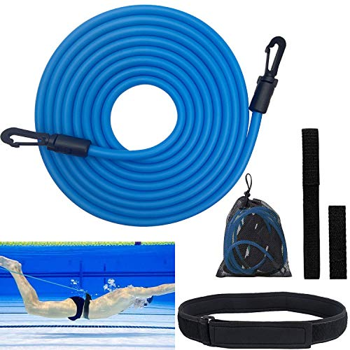 Pool Schwimmgürtel Einstellbare, Schwimmtrainer Schwimmwiderstand Gürtel für Kinder & Erwachsene, 4 m Schwimmtraining Gürtel für Jeden Pool Geeignet (Blau)