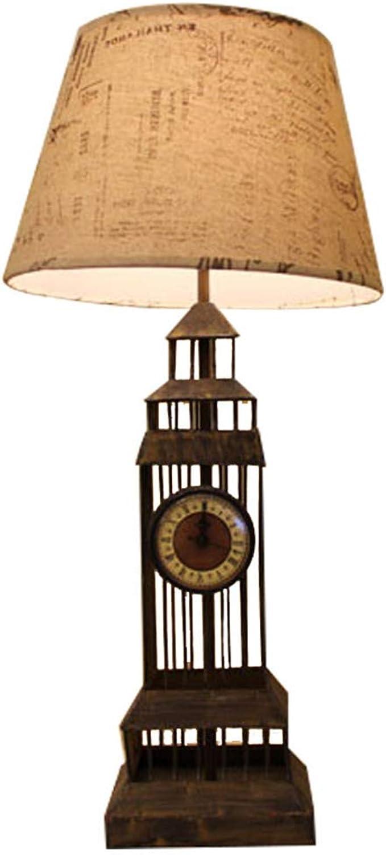 ZQH Europisch Retro Leuchtturm Tischlampe, Kreativ Iron Art E27 Schlafzimmer Nachttischlampe Kinderzimmer Studie Bar Dekoratives Licht LED Schreibtischlampe Wohnkultur,70  30CM
