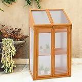 Prime Plus Garden Wooden Greenhouse Hardwood W/polycarbonate glazing Cold Frame Transparent One Size Brown, 120x69x51 cm