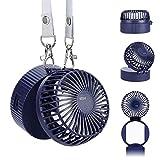 Ventilador USB de Mano Mini collar Portátiles de Escritorio Recargable con 3 de Velocidad 4-8H Horas de Trabajo Ajuste Giratorio de 180 ° Tamaño de la Palma de la Para Viajes de Oficina en el Exterior