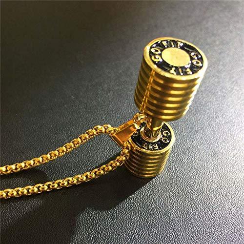 Goldkette Edelstahl Buchstaben Hantel Anhänger Halskette Männer/Frauen Mode Hip Hop Gold-Farbe
