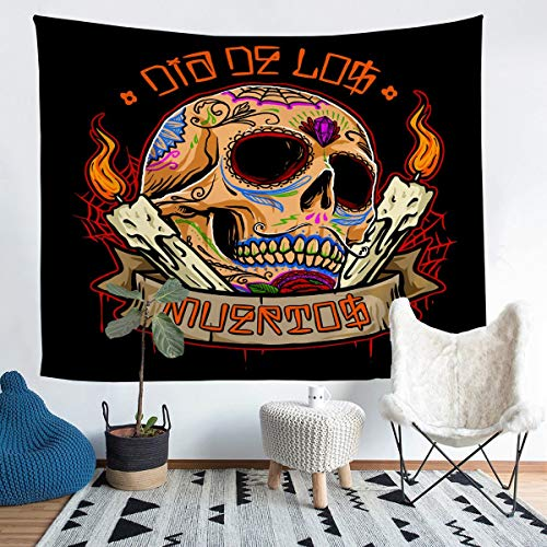 Feelyou Skull Tapestry Wall Hanging Lit Candle Scary Skeleton Tapestry for Kids Boys Teens Gothic Bones Print Wall Tapestry Halloween Theme Wall Art Decor for Bedroom Living Room XLarge 70x92 Inch