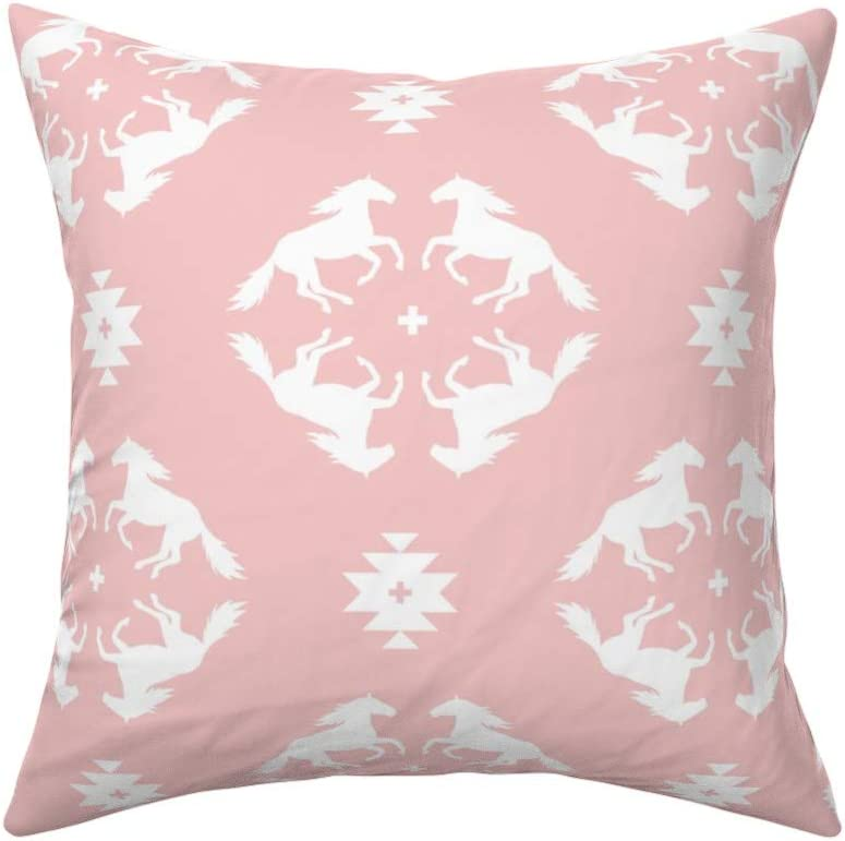 Roostery Throw Pillow Horses Horse Pink Wild Horse Equestrian Trendy Southwest Print Velvet Knife Edge Accent Pillow 18in X 18in With Insert Home Kitchen