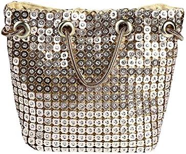 JINGXU Women's Evening Bag Rhinestone Shiny Bucket Bag Handbag Chain Diagonal Bag