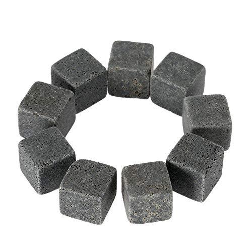 Non tossico 9 Pezzi riutilizzabili Pietre del Whisky refrigeratori Granito Bevande Wine Cooler Ice Cubes Whisky Rocks Bulk (Color : Grey)