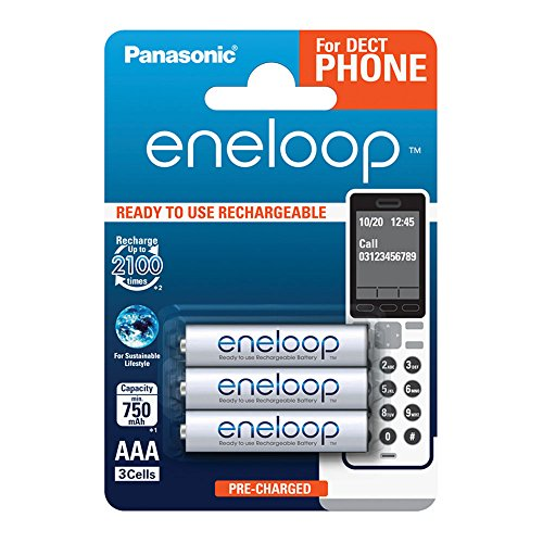 Panasonic eneloop, Ready-to-Use Ni-MH Akku, AAA Micro, 3er Pack, min. 750 mAh, 2100 Ladezyklen, geringe Selbstentladung, für Schnurlostelefone (DECT), wiederaufladbare Akku Batterie