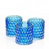 Richland Blue Chunky Honeycomb Glass Votive & Tealight Candle Holder Set of 48