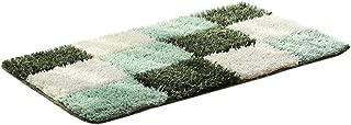 Evangelia.YM Fashion Plaid Colorblock Area Rugs Carpet Pad for Living Room Bedroom Bedside Ultra Soft Non-Slip Floor Mat Doormats Home Decoration 45X65cm (D Green)
