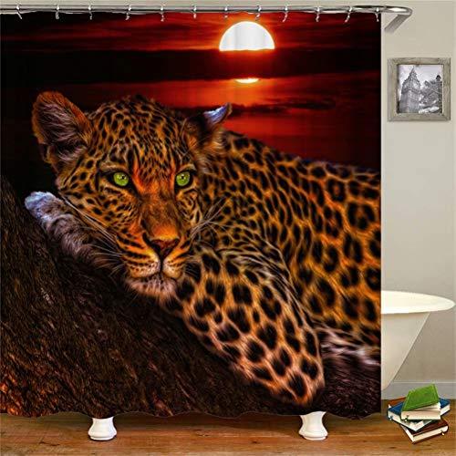 ZZZdz Sonnenuntergang. Leopard Liegt Auf Dem Boden. Duschvorhang: 180 X 180 cm. Wasserdichter Stoffteppich Für Duschvorhang. Bad Duschvorhang Set Polyesterfaser Bad Duschvorhang.