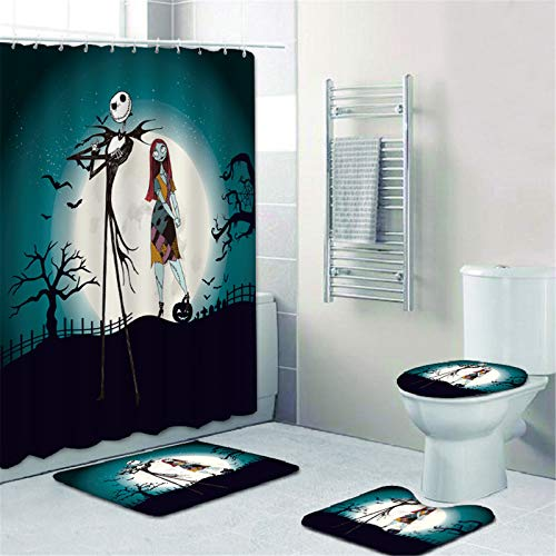 TAWOAO 4 Pcs Jack Skellington Shower Curtain Set with Non-Slip Rugs,Toilet Lid Cover and Bath Mat,Nightmare Before Christmas Shower Curtain with 12 Hooks
