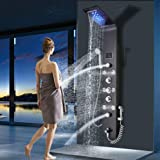 Stainless Steel LED Shower Panel Tower System,LED Rainfall Waterfall Shower Head, Hydroelectricity Display Rain Massage with Jets, Brushed Black