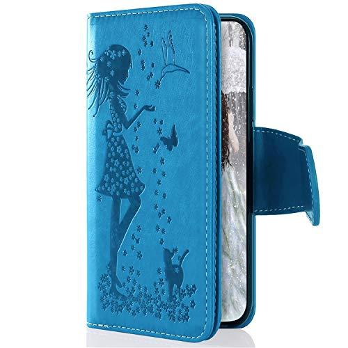 Uposao Kompatibel mit Samsung Galaxy M20 Handyhülle Multifunktional 9 Kartenfach Blumen Geldbörse Flip Schutzhülle Vintage Dünne Handytasche Brieftasche Etui Magnetische Lederhülle,Blau