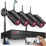 【Sistema CCTV facíl de instalar】El Kit Videovigilancia WiFi es fácil de instalar y no nesesita cables de video. Conecte el NVR WiFi y las 4 Cámaras de Vigilancia WiFi a un toma de corriente con los adaptadores. Conecte el ratón al WiFi NVR 4CH. Conec...