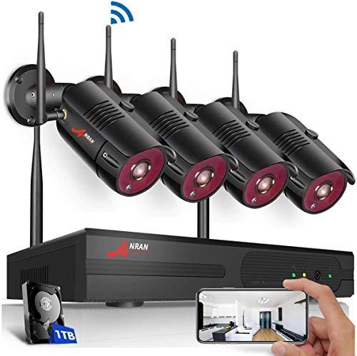 Swinway WLAN Überwachungskamera System Kabellose Überwachungssystem mit 4ch 1080P NVR Kit 4Stk 1080P Innen Außen Kamera mit 1TB Festplatte Bewegungsmelder Kostenlose App Fernzugriff Plug-and-Play