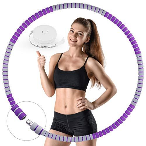 HASAGEI Fitness Exercise Hoop, Hula Hoop Reifen Erwachsene zur Gewichtsreduktion und Massage, Stabiler Edelstahlkern und 6 Segmente Abnehmbarer Reifen, zur Fitness Sport Zuhause, mit Bandmaß (lila 11)