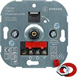 EHMANN 3900x0100 T39.01 Unterputz-Dimmer, Phasenanschnitt, 230 V, 50 Hz, Leistung: 20-500 W/VA, inkl. Schalterprogramm-Adapter