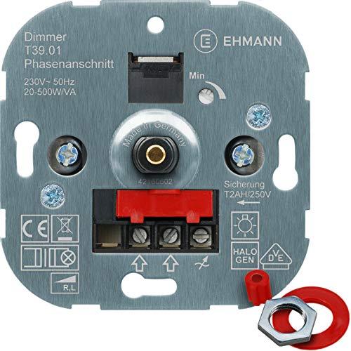 EHMANN 3900x0100 T39.01 Unterputz-Dimmer, Phasenanschnitt, 230 V, 50 Hz, Leistung: 20-500 W/VA, inkl....